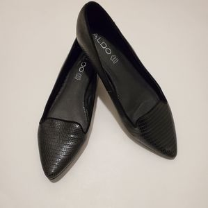 Aldo Black Leather Snake Print Flats